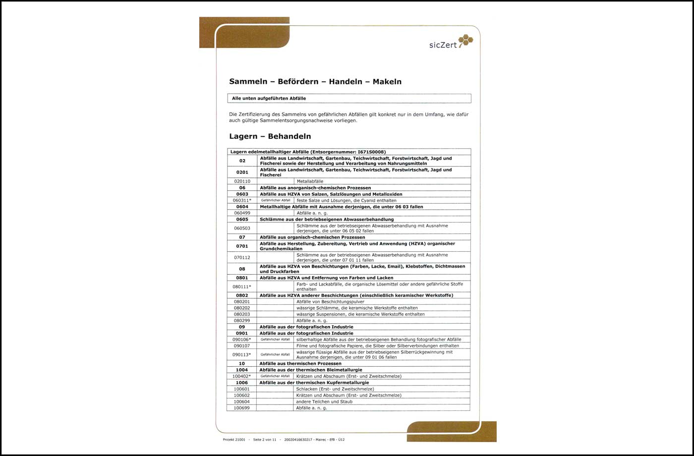 mairec edelmetall precious metal recycling zertifikat efb certificate
