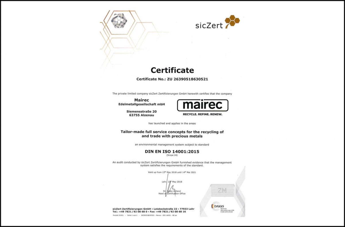 mairec edelmetall precious metal recycling zertifikat iso 14001 certificate english