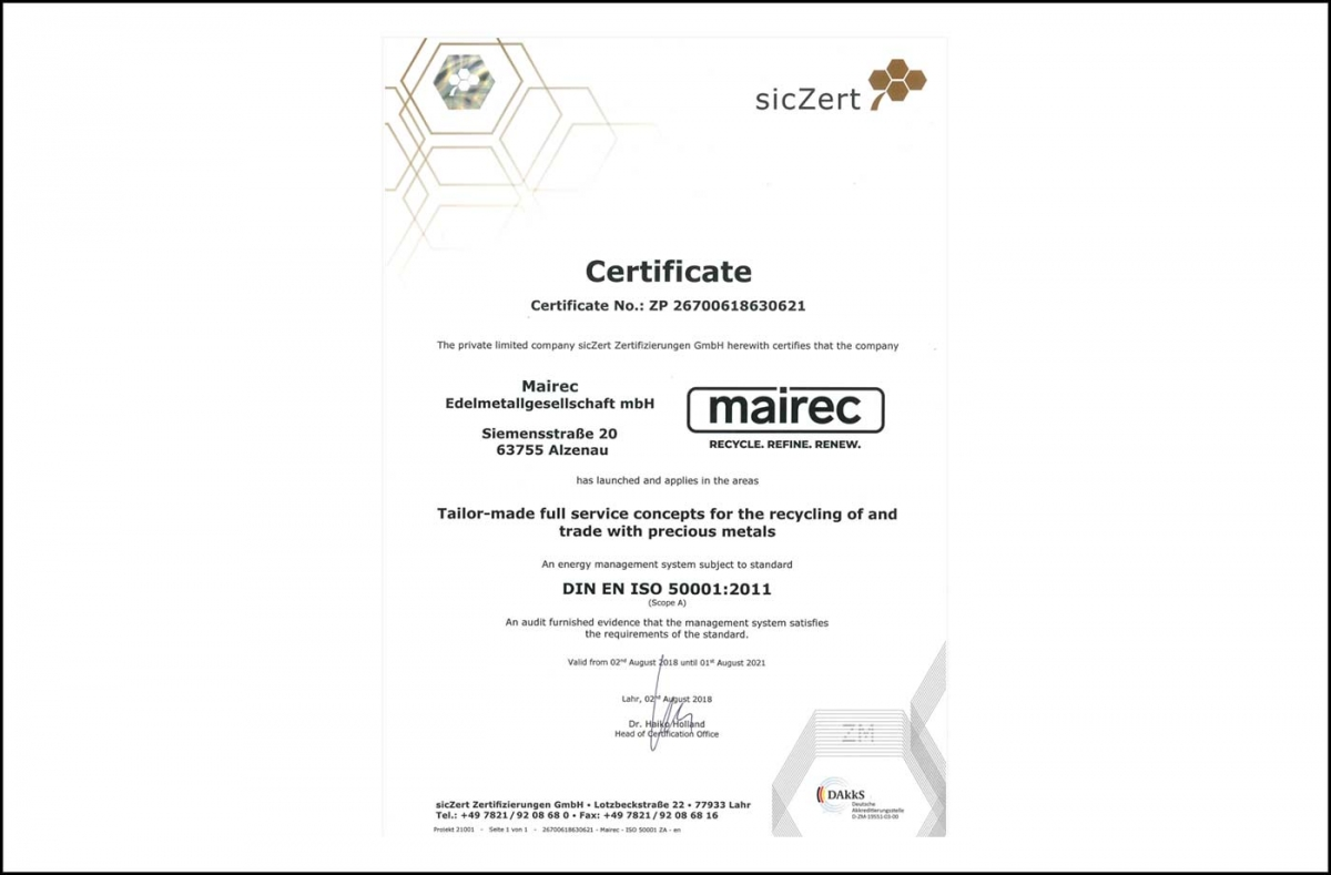 mairec edelmetall precious metal recycling zertifikat iso 50001 certificate english
