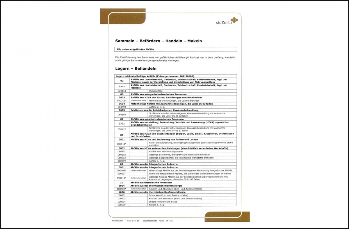 mairec edelmetall precious metal recycling zertifikat efb certificate 2019
