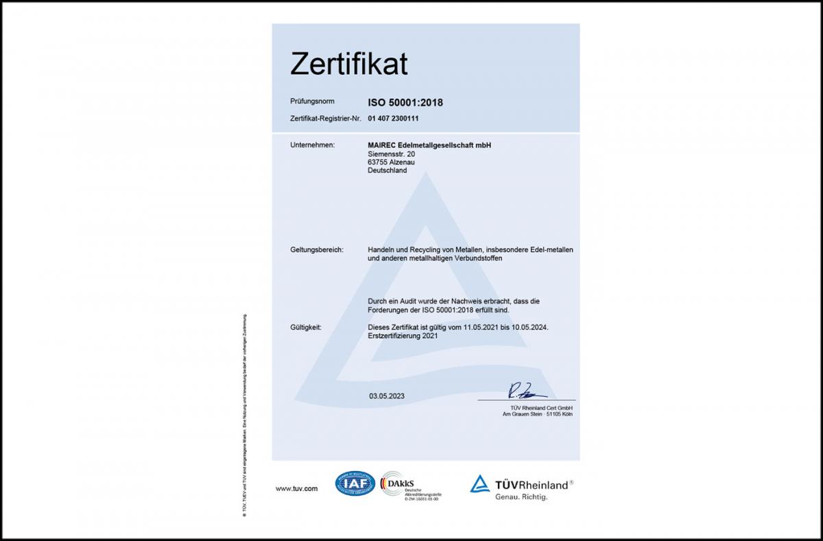 mairec edelmetall precious metal recycling zertifikat iso 50001 certificate english